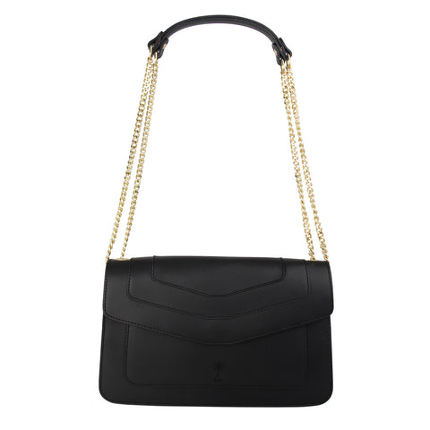 Iris Italian leather Shoulder bag (Black)