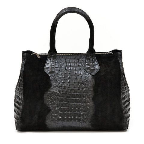 JoJo Croc Embossed Shoulder Bag (Black)