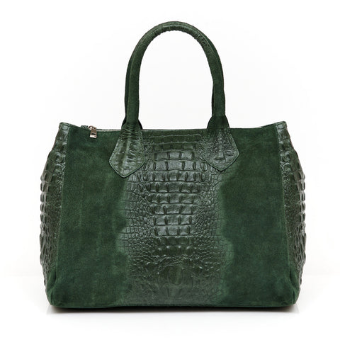 JoJo Croc Embossed Shoulder Bag (Green)