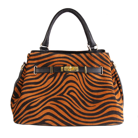 Nancy Italian Leather Handbag (Black/Zebra)