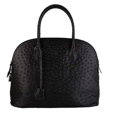 Rani Ostrich Embossed Tote (Black)