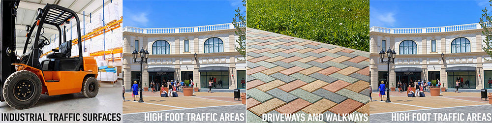 industrial traffic surfaces, high foot traffic areas, driveways and walkways