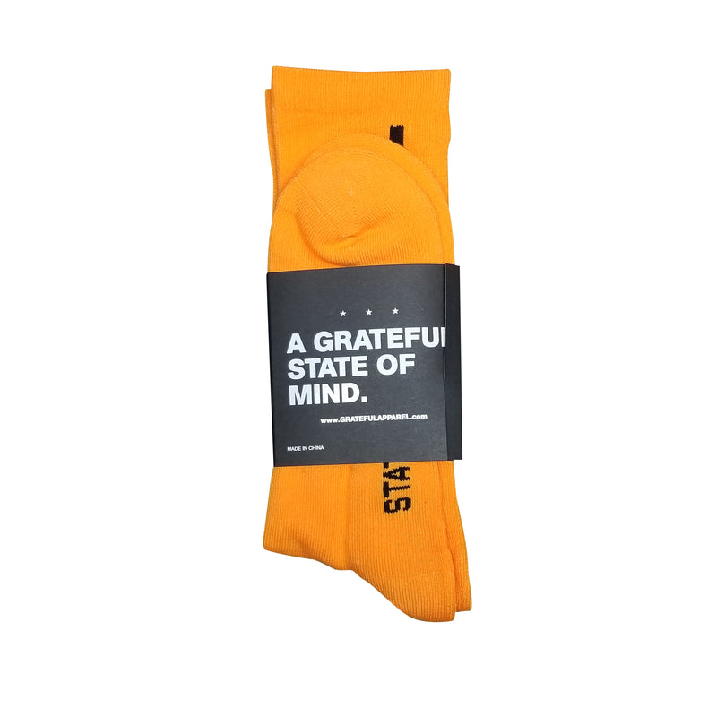 GRTFL State Of Mind Socks - Orange/w black
