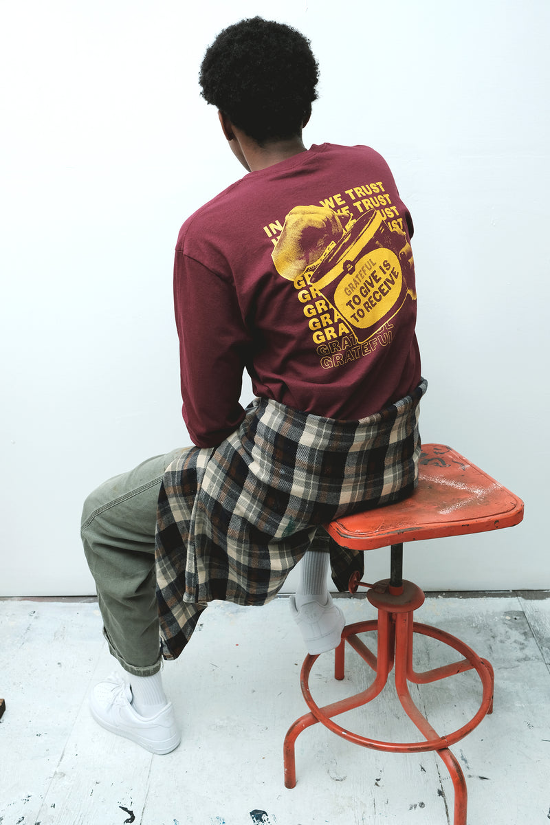 """Give is to Receive"" Maroon Longsleeve Tee"