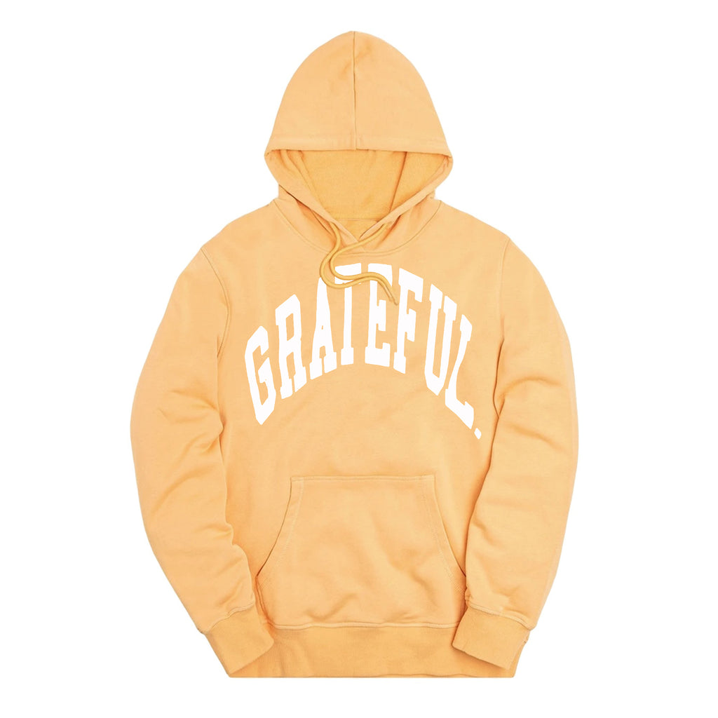 Arched Logo Peach Hood // White (Oversized Print)