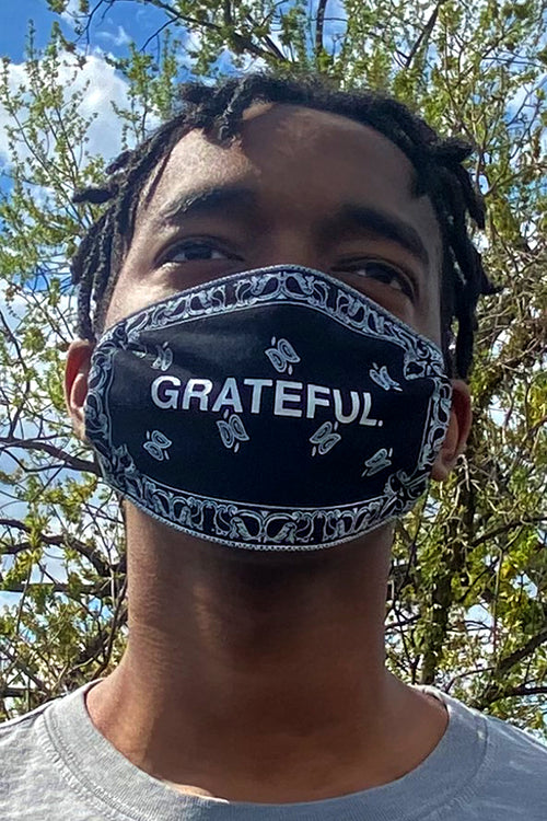 GRATEFUL. Paisley Face Mask (Black)