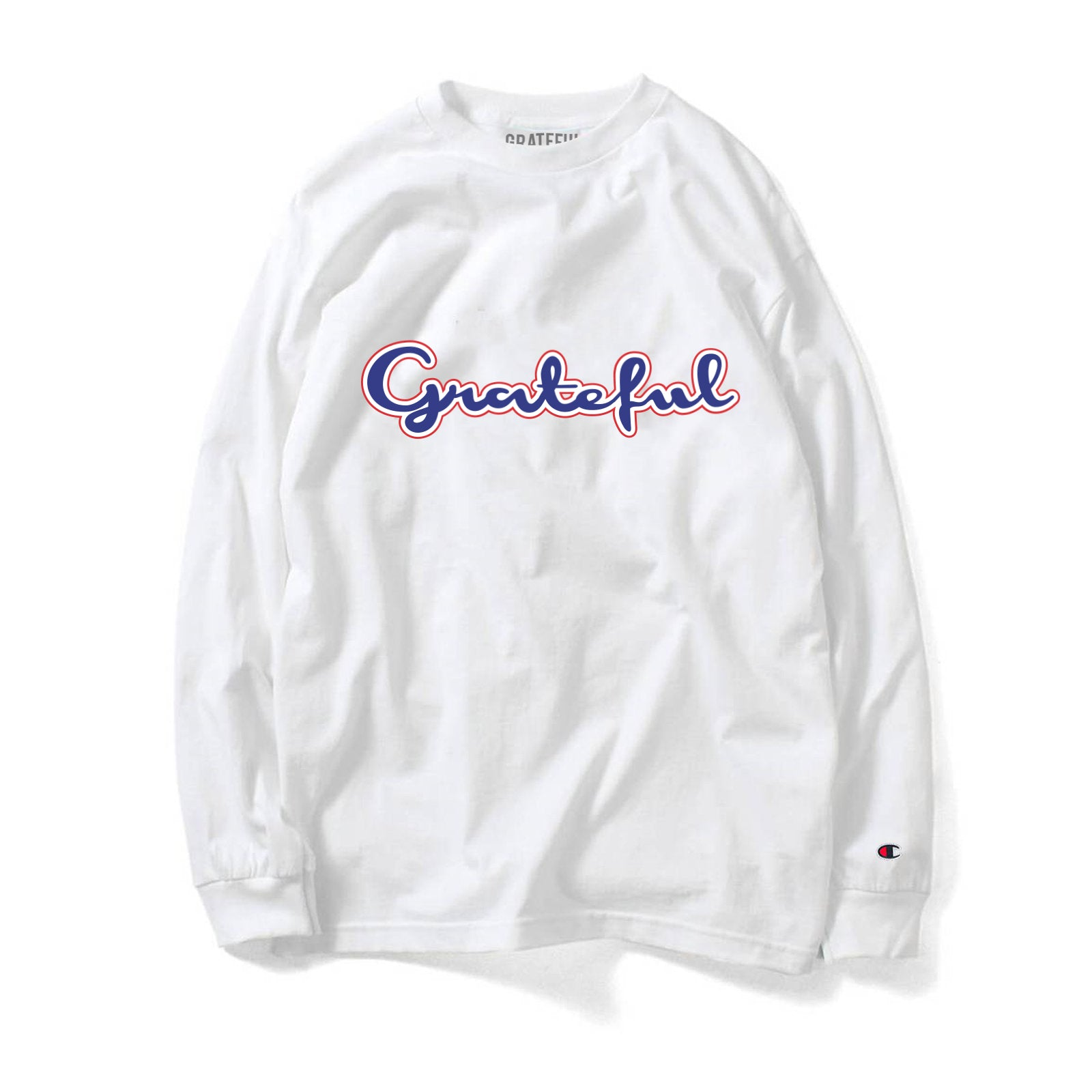 7a5e0dcc1 Grateful Champion Script 3.0 Long Sleeve Tee    White – GRATEFUL APPAREL
