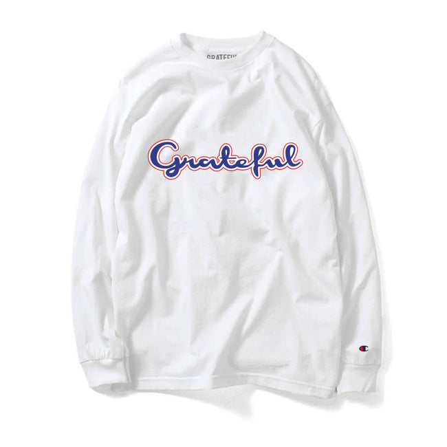 92ce30840 Grateful Champion Script 3.0 Long Sleeve Tee // White