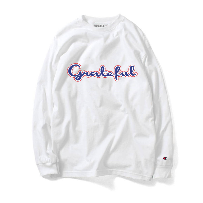 Grateful Champion Script 3.0 Long Sleeve Tee // White