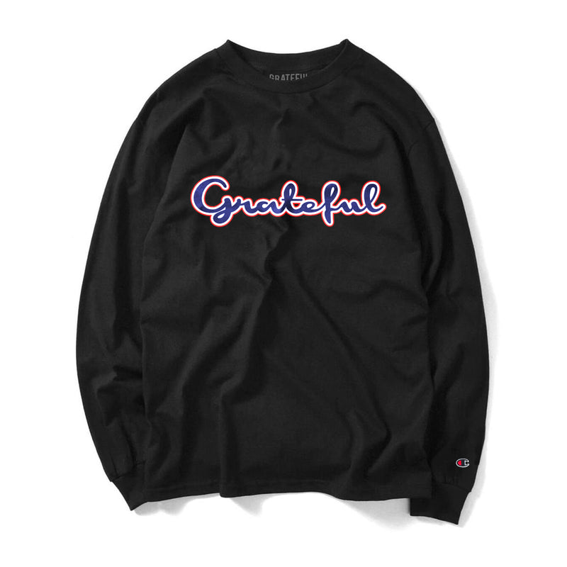 Grateful Champion Script 3.0 Long Sleeve Tee // Black