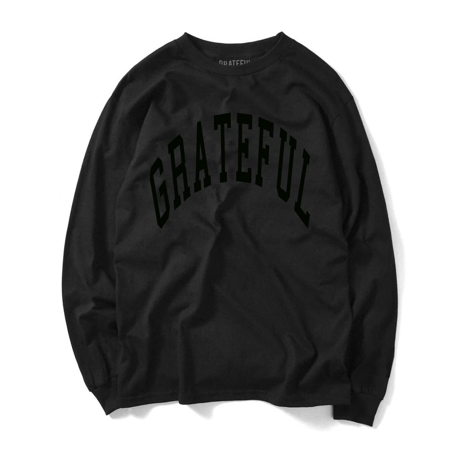 Arched Horizon L/S Tee // Custom Cut Felt Logo [Blackout]