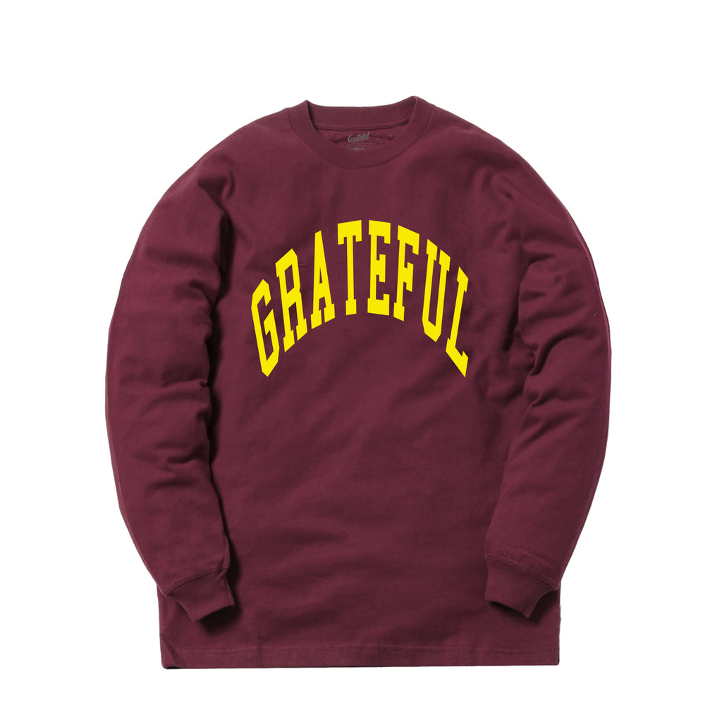Arched Horizon L/S Tee // Custom Cut Felt Logo [Maroon/Yellow]
