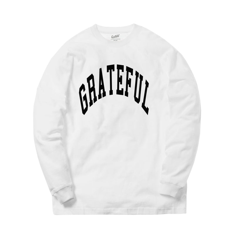 Arched Horizon L/S Tee // Custom Cut Felt Logo [White/Black]