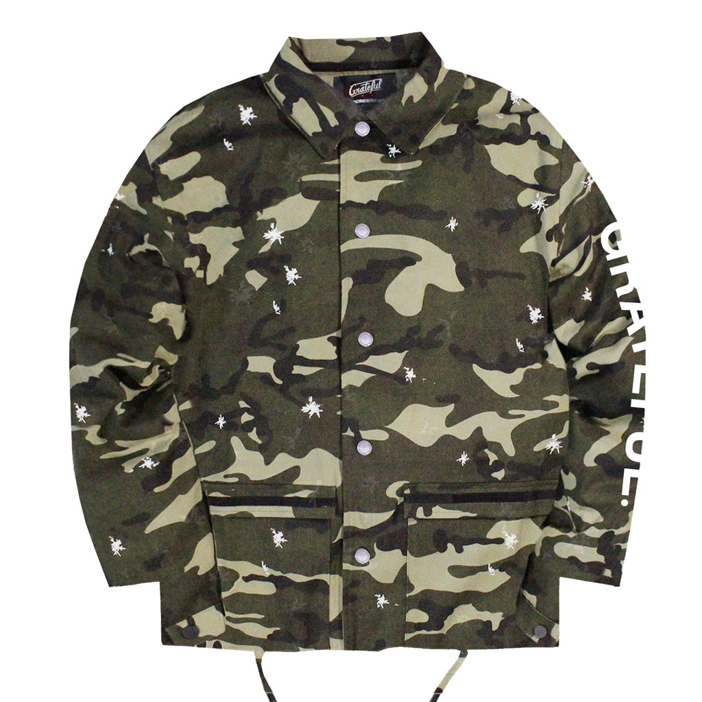 White-Petal Camo Coach Jacket