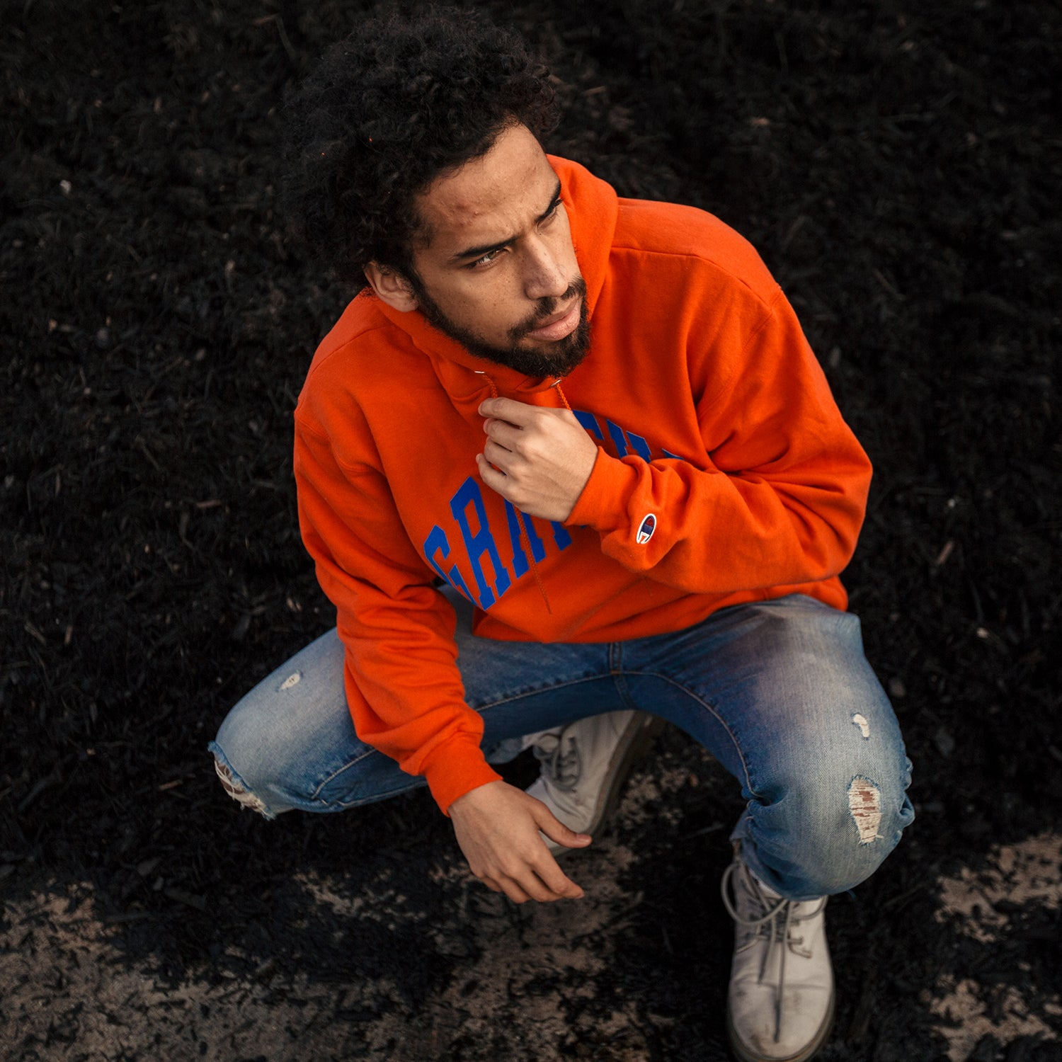 Arched Horizon Hoodie // Custom Cut Felt Logo [Orange]
