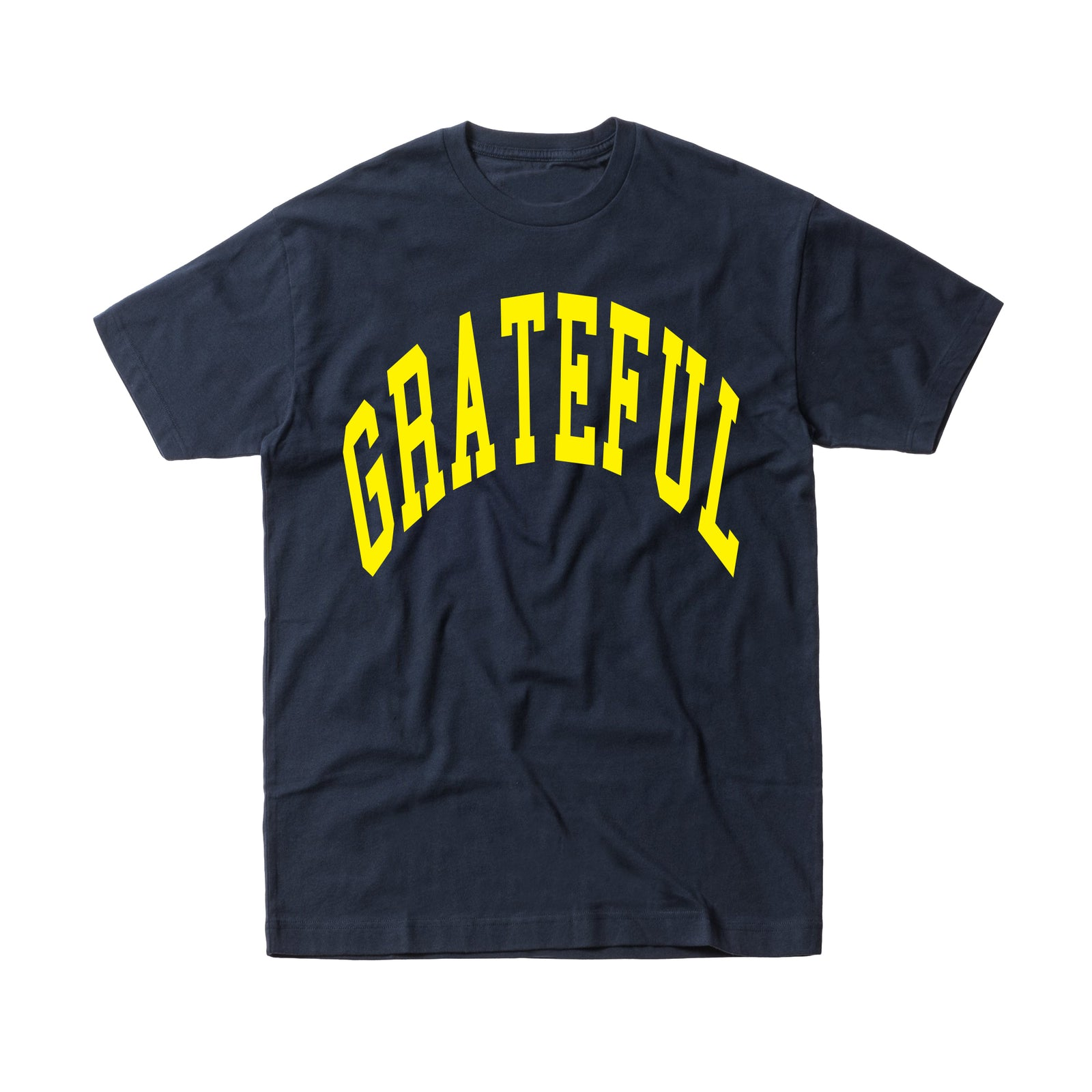 Arched Horizon Tee // Custom Cut Felt Logo [Navy/Yellow]