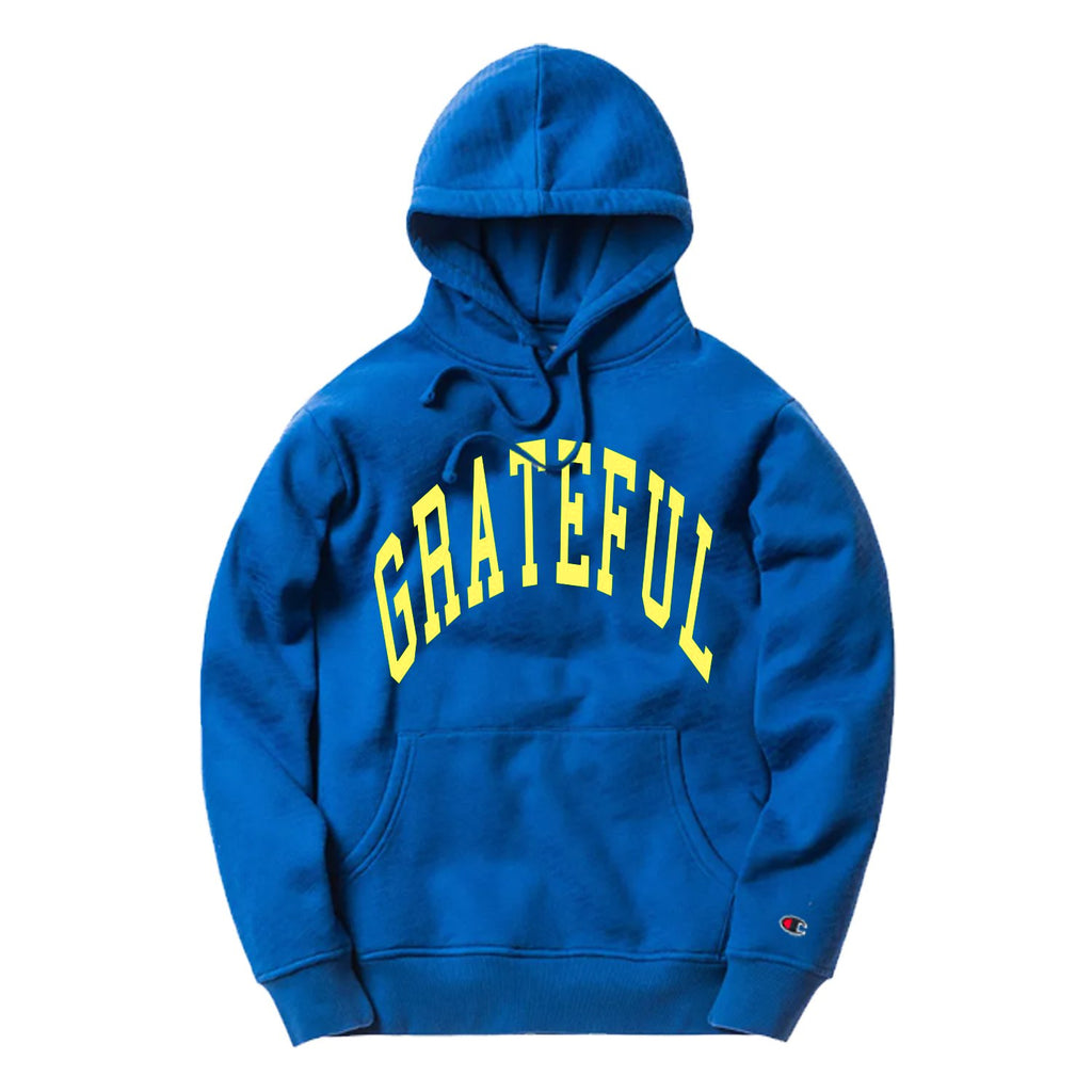 Arched Horizon Hoodie // Custom Cut Felt Logo [Royal Blue]