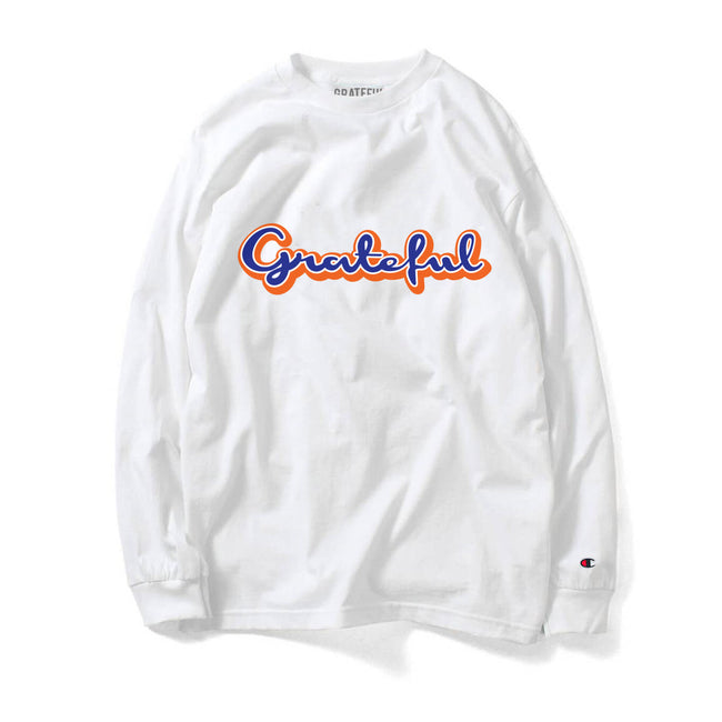 Grateful Champion Script 2.0 Long Sleeve Tee // White