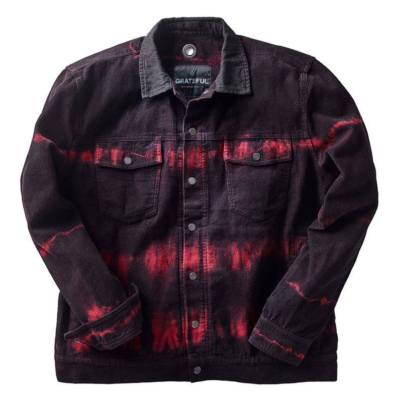 Heatwave Tie Dye Corduroy Jacket Black/Red