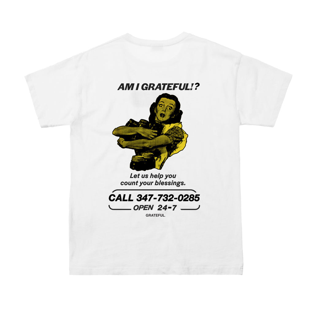 """Am I Grateful?"" White Tee"