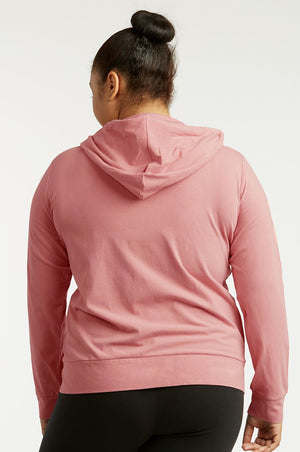 Ladies Thin Zip-Up Hoodie Jacket Plus Size