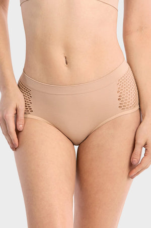 Ladies Seamless Hipster Panty W/Mesh At Side