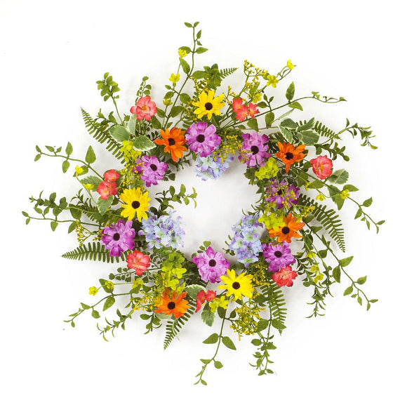 The Vibrant Colors of Flowers Bring This Lush Wreath to Life.