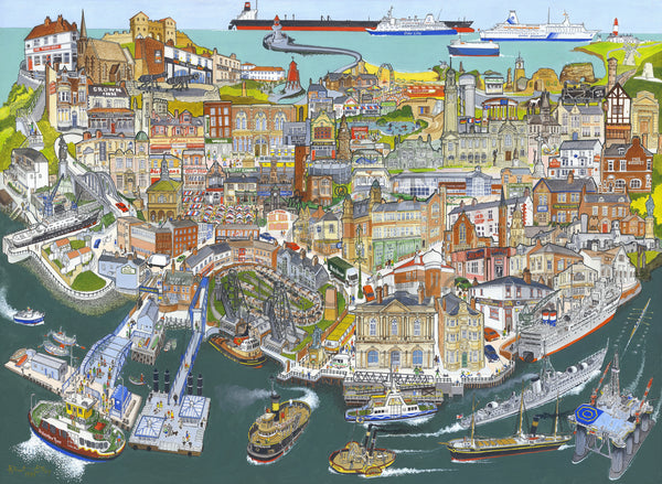 North East Art Prints / Personalised Gifts - Coal, Ships, Fish and Chips