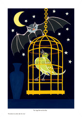 Aesop's Fables print - The Caged Bird And The Bat