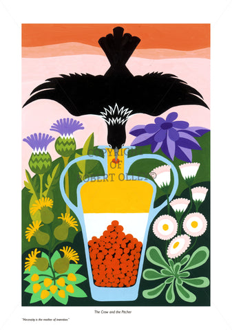 Aesop's Fables print - The Crow And The Pitcher