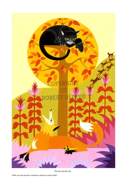 Aesop's Fables print - The Fox And The Cat