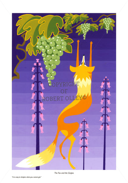 Aesop's Fables print - The Fox And The Grapes