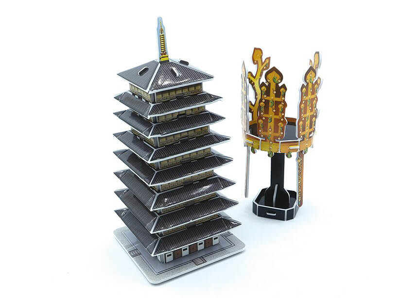 3D Puzzle - Korean Traditional Gold Crown and Hwangnyongsa Pagoda