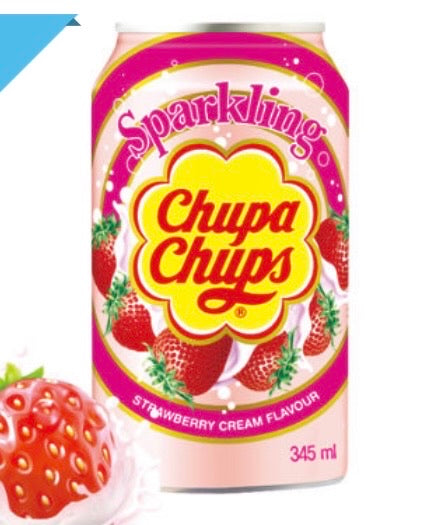 Chupa Chups Sparkling Strawberry Cream Flavour soft Drink Cans