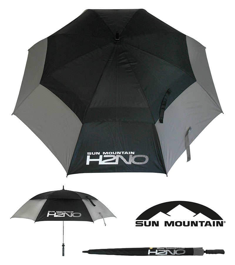 "SUN MOUNTAIN H2NO UMBRELLA - GREY/BLACK 68"" AUTO OPEN"
