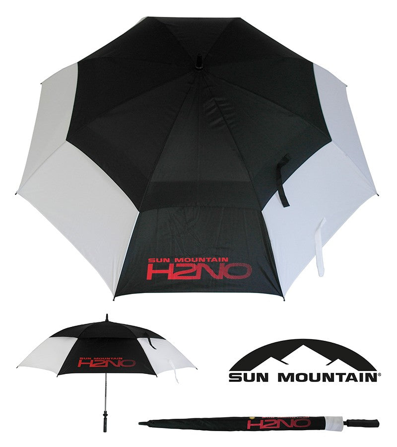 "SUN MOUNTAIN H2NO UMBRELLA - BLACK/WHITE 68"" AUTO OPEN"
