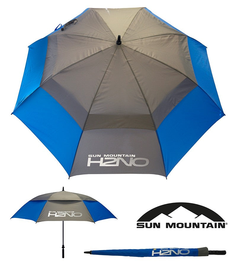 "SUN MOUNTAIN H2NO UMBRELLA - BLUE/GREY 68"" AUTO OPEN"