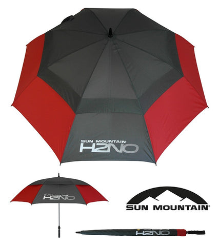 "SUN MOUNTAIN H2NO UMBRELLA - RED/GREY 68"" AUTO OPEN"