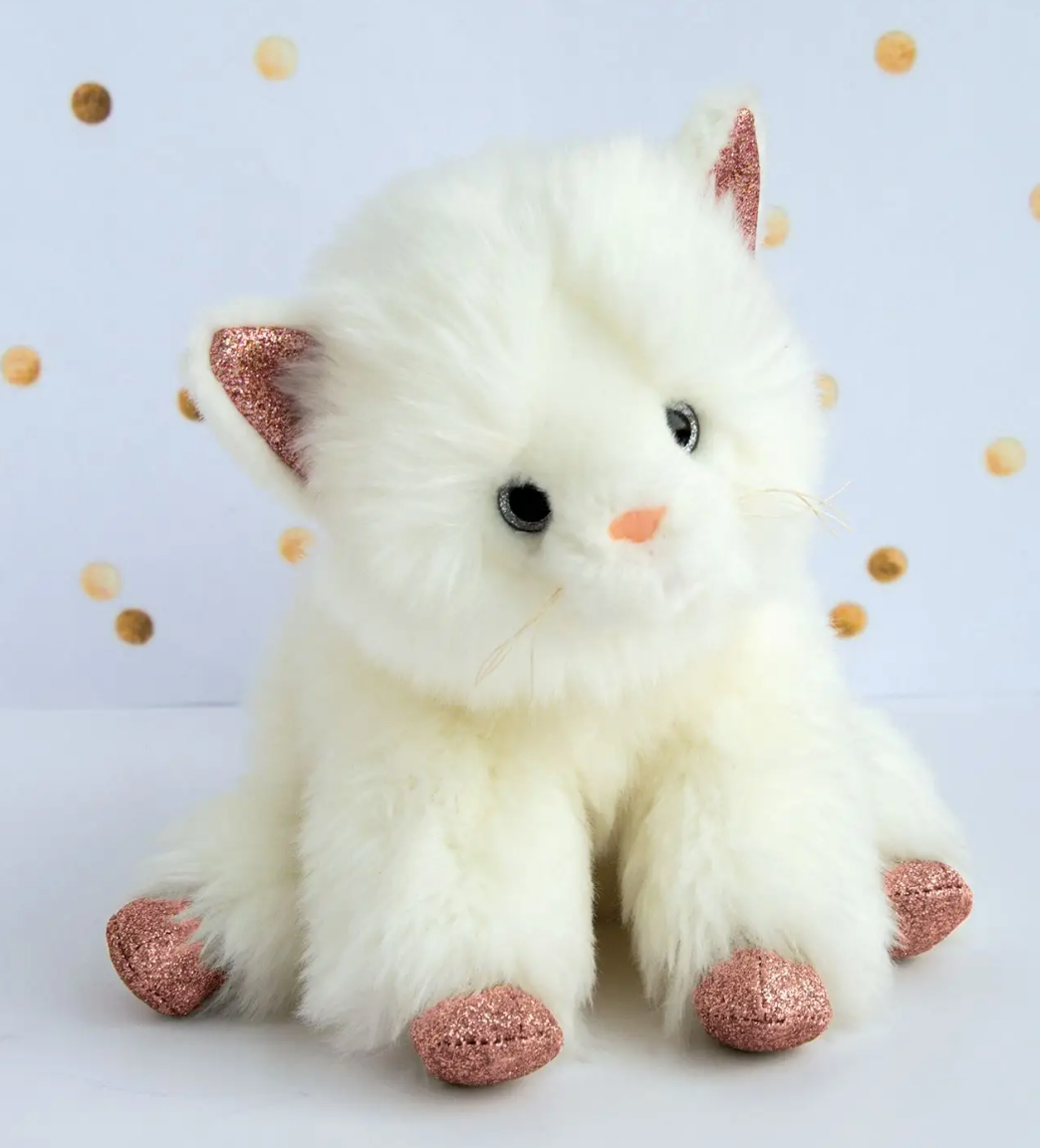 Cat Stuffed Animal with Pink Glitter Accents