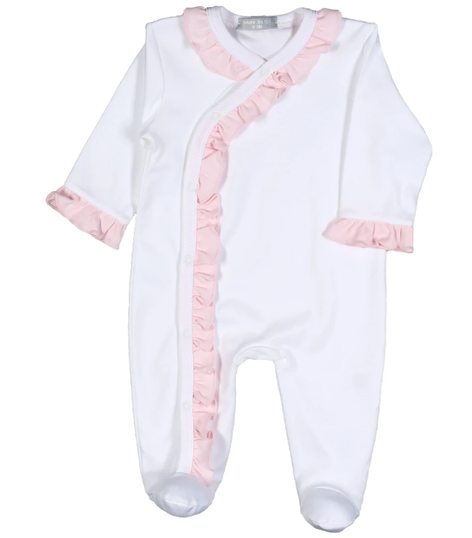 White with Pink Ruffle Footie