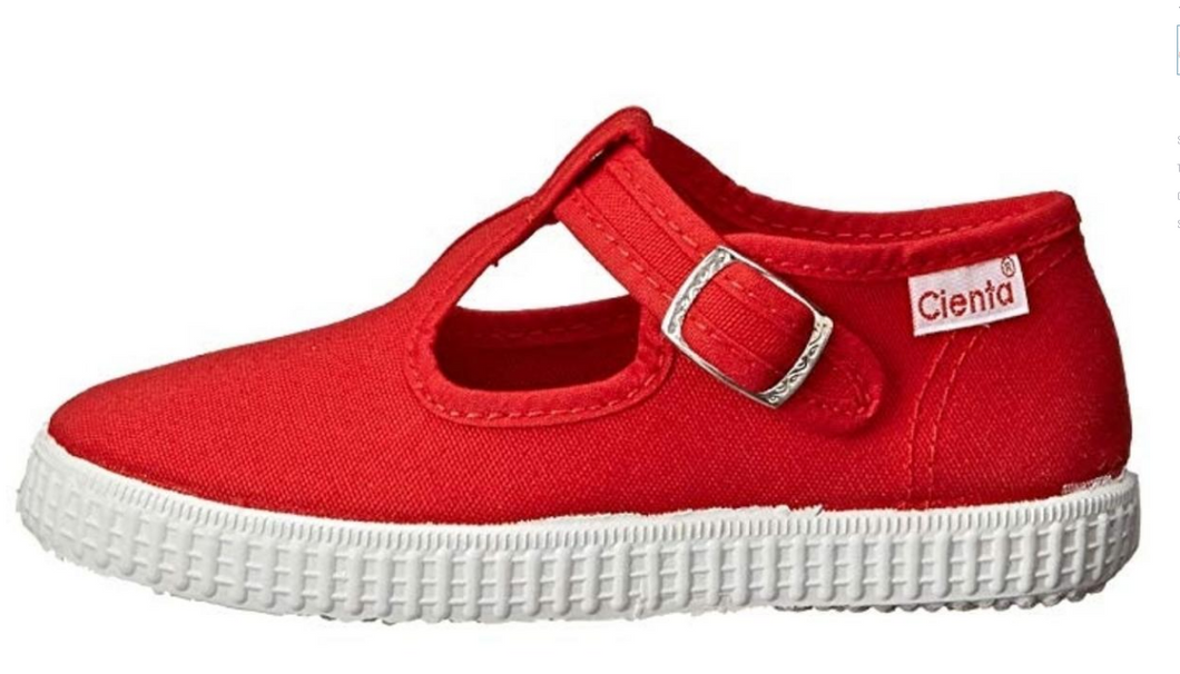 Cienta Red T Strap Shoes