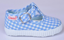 Load image into Gallery viewer, Blue Gingham T Strap Cientas