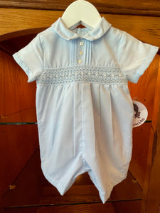Blue Smocked Short Romper