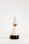 black and gold dipped ring cone with an adjustable ring