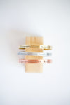 Courage, Dear Heart cuff bracelets (brass, aluminum and copper)