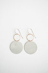 sterling silver and yellow gold-filled circle earrings