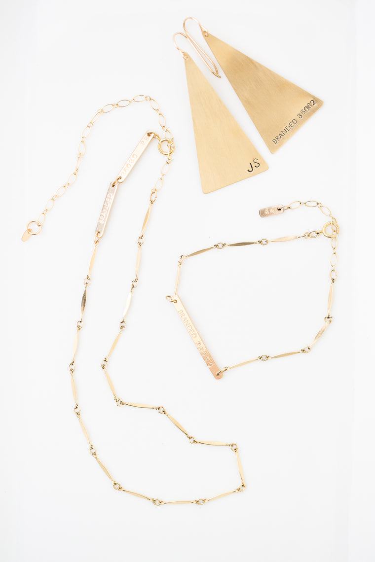 gold filled chain necklace, gold filled chain bracelet and brass triangle earrings