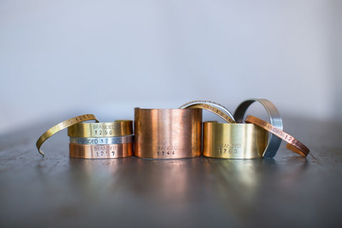 Small Copper BRANDED Cuff