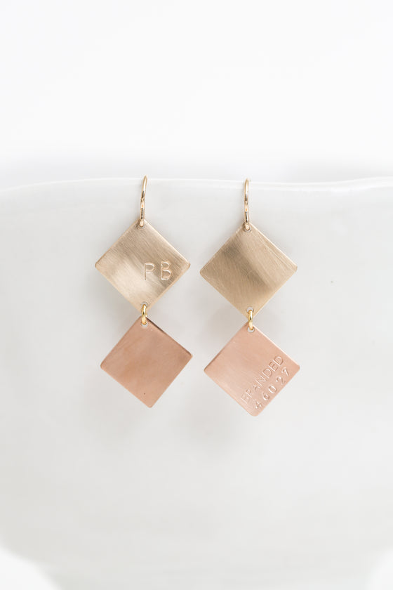 yellow gold-filled and rose gold-filled geometric dangly earrings
