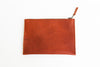 Persimmon leather zippered BRANDED pouch back